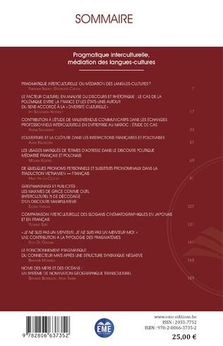 4eme Pragmatique interculturelle, médiation des langues-cultures