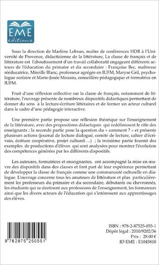 4eme La classe de français et de littérature