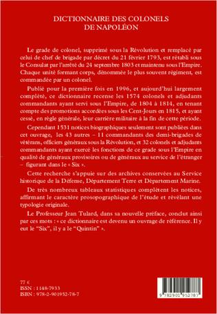 4eme Dictionnaire des colonels de Napoléon