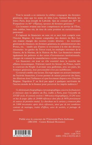4eme Dictionnaire biographique des financiers en France au XVIIIe siècle