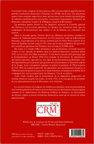 4eme Institutions financières en France au XVIIIe siècle (Ouvrage en deux volumes)