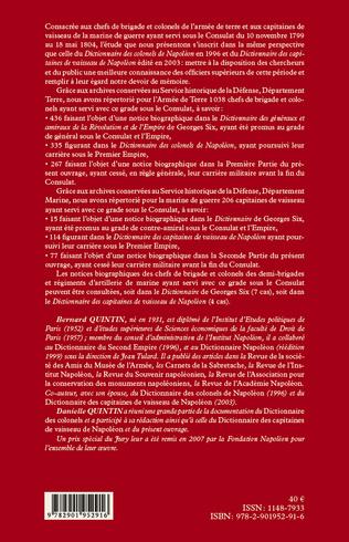 4eme Dictionnaire des chefs de brigade, colonels et capitaines de vaisseau de Bonaparte, premier consul