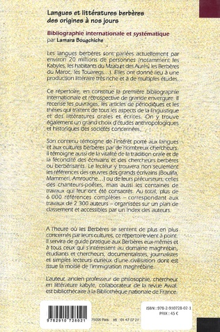 4eme Langues et littératures berbères des origines à nos jours