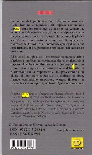 4eme Statut professionnel et responsabilité du commissaire aux comptes au Cameroun