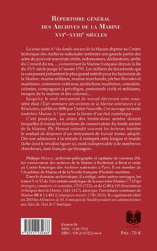 4eme Répertoire Général des Archives de la Marine