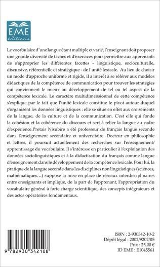 4eme La compétence lexicale en français langue seconde (Tome 1)