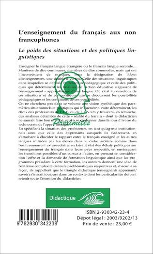 4eme L'enseignement du français aux non francophones