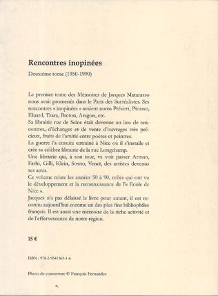 4eme Jacques Matarasso - Mémoires - Rencontres inopinées  II (1950-1990)