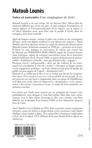 4eme Matoub Lounès, notes et souvenirs d'un compagnon de lutte