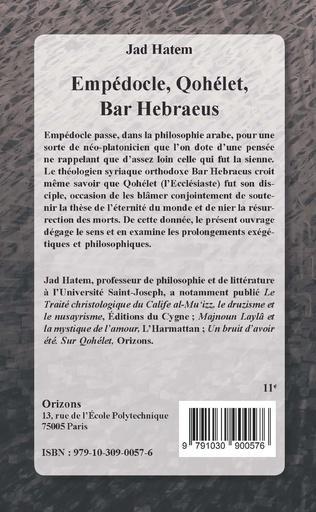 4eme Empédocle, Qohélet, Bar Hebraeus