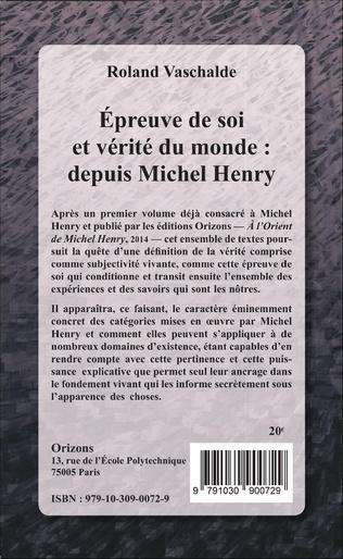4eme Epreuve de soi et vérité du monde : depuis Michel Henry