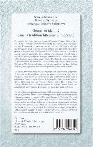 4eme Genres et identité dans la tradition littéraire européenne