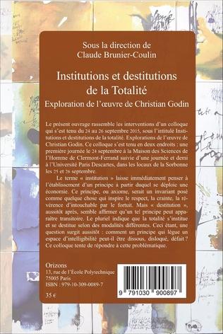 4eme Institutions et destitutions de la totalité