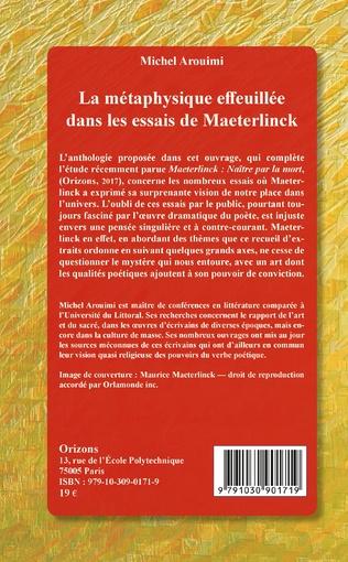 4eme La métaphysique effeuillée dans les essais de Maeterlinck