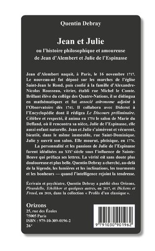 4eme Jean et Julie ou l'histoire philosophique et amoureuse de Jean d'Alembert et Julie de l'Espinasse