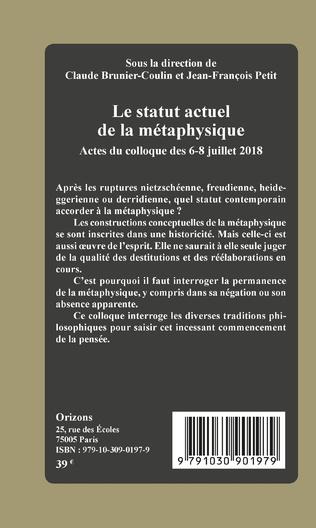 4eme Le statut actuel de la métaphysique