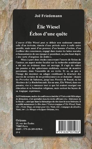 4eme ELIE WIESEL ECHOS D'UNE QUETE