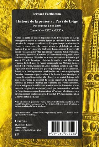 4eme Histoire de la pensée au Pays de Liège Tome IV